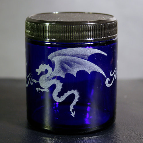 Dragons with Fire Etched on Cobalt Blue Medium Jar  Code:  M134 CB SJMB