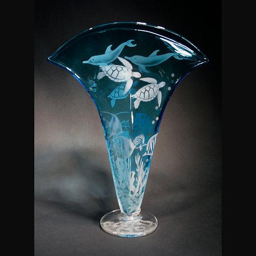 Ocean Sealife Etched on Turquoise Blenko Fan Vase  Code; O563 TQ BFVG