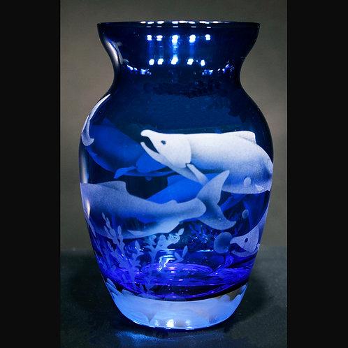 Sockeye Salmon Etched on Cobalt Blue Florist Vase  Code:  O760 CB GFVD