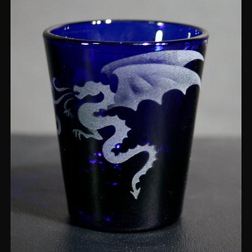 Dragon Fire Etched on Cobalt Blue Shot Glass  Code:  M134 CB LSGB