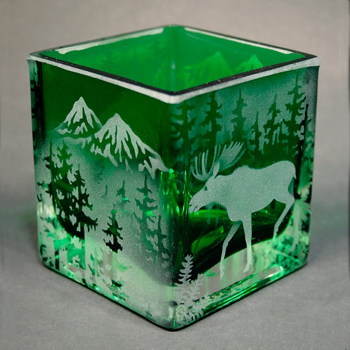Moose Mountain Scene Etched on Green Square Votive  Code: A505 GR SQVC