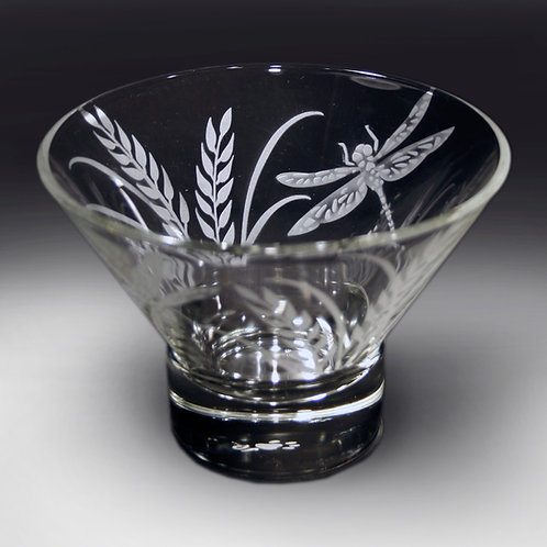 Dragonfly Grass Etched on a Small Clear Bowl  Code; I175 CL DSBC