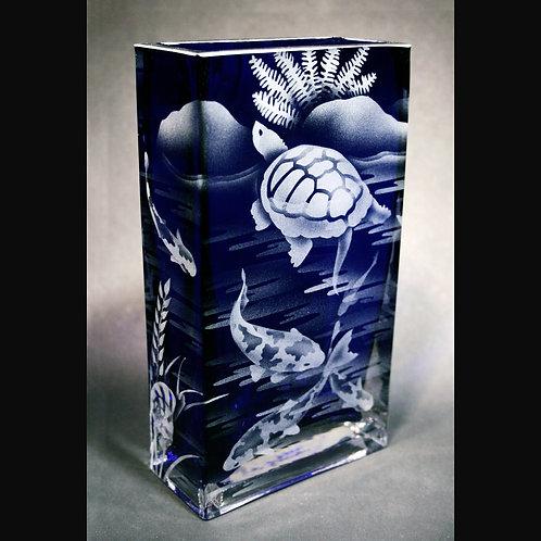 Pond Turtle Scene Etched on Cobalt Blue Tall Rectangle Vase  Code: R590 CB GEVE