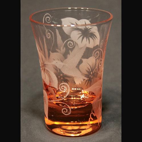 Hummingbird Morning Glories Etched on Peach Shot Glass  Code: B395 PH USGB