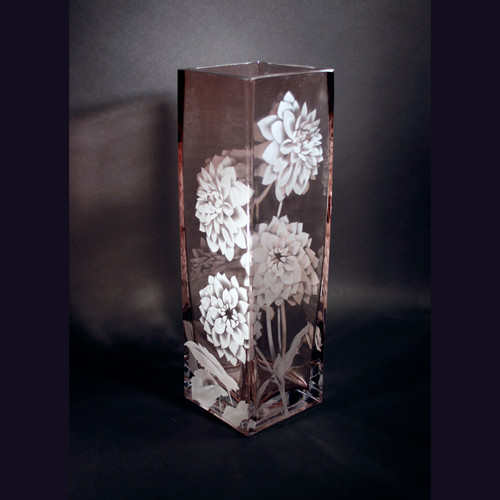 Etched Glass Jaguar Art Glass Eugene Oregon Vases