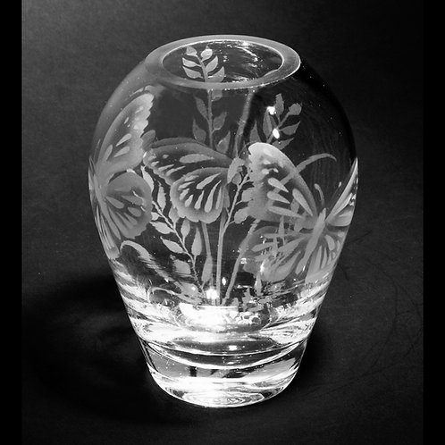 Butterfly Grass Etched on Clear Tiny Hip Vase  Code: I078 CL HHPC
