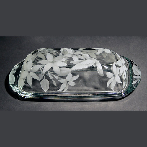 Hummingbirds with Jasmine Etched on a Clear Butter Dish  Code; B307 CL BTTD