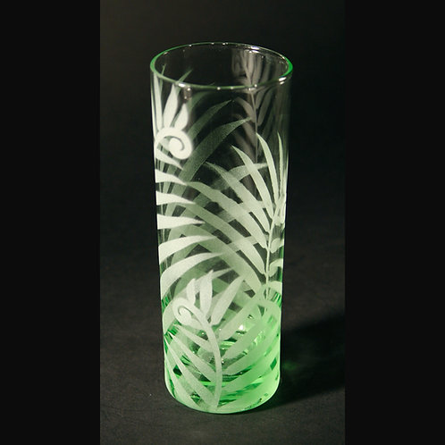 Ferns Etched on Light Green spirit Glass    Code: F210 LG IBVC