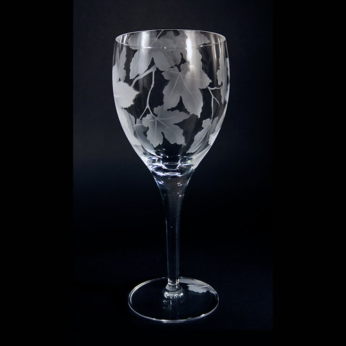 Sycamore Branch with Leaves Etched on Crystal White Wine Goblet  Code:  F707