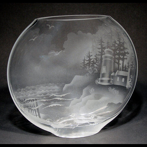 Haceta Head Lighthouse Etched on LG Clear Sphere Vase  Code: S445 CL GSVD