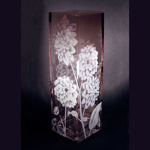 Dahlias Etched on an Amethyst Tall Square Vase  Code F125 AM GSVF