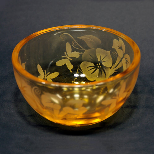 Butterflies Morning Glories Etched on Petite Yellow Bowl  Code: I090 YL PSBB