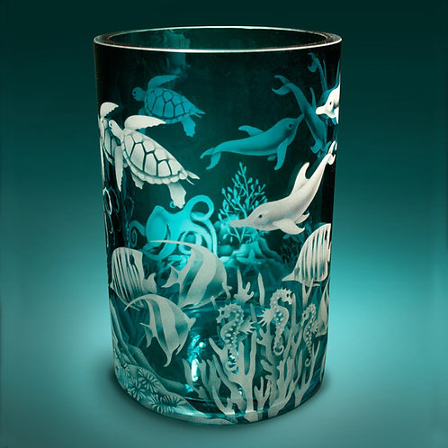 Ocean Animals with Coral Etched on Teal Cylinder Vase  Code:O563 TL GCVE