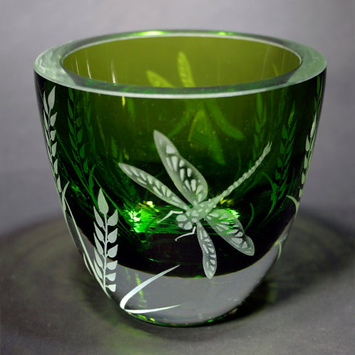Dragonfly Grass Etched on a Heavy Green Bowl Code; I175 GR GBRC
