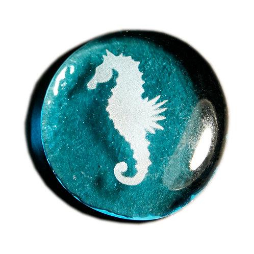 Sea Horse Etched on a Azure JagGem Code: G710 AZ RFGA