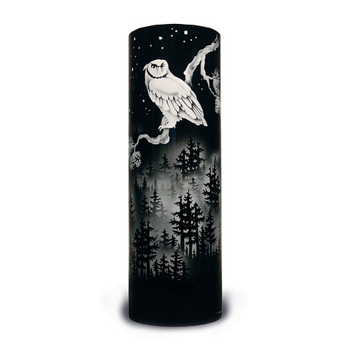 Owl Mountain Dusk Scene Etched on Black Cylinder Vase  Code:  B472 BK MCVG