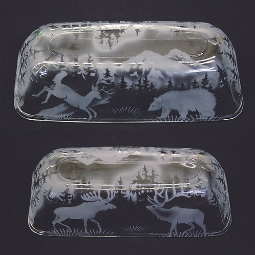 Forest Mountain Scene with Animals Etched on a Clear Butter Dish
