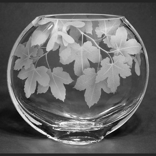 Sycamore Branches Etched on Medium Clear Sphere Vase  Code: F707 CL GSVC