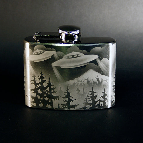 UFO Mountain Scene Etched on a 4oz Flask  Code;  M810 SS 04FC