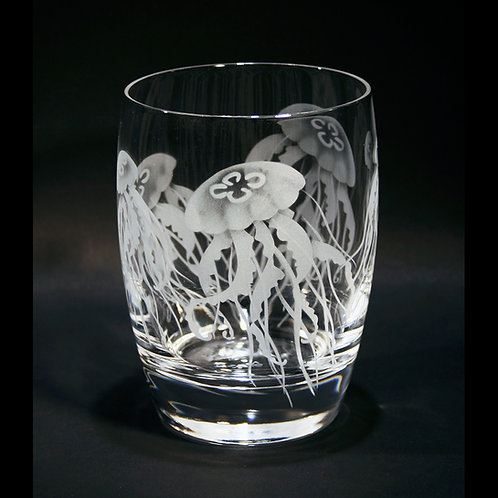 Jellyfish Etched on a Crystal Whiskey/Tumbler