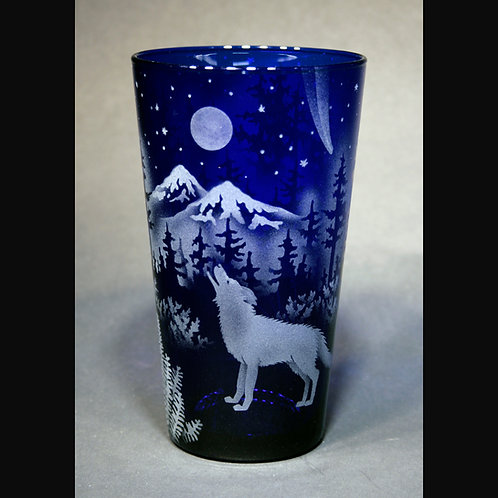 Wolf Mountain Moon Etched on Blue Cooler Glass  Code: A885 CB LCGD