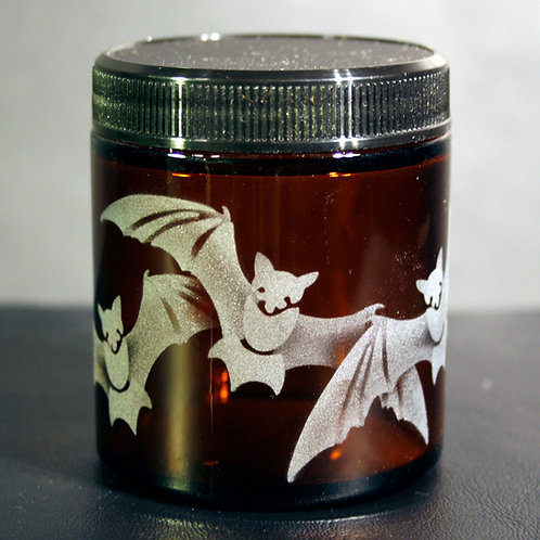 Bats Etched on a Small Topaz Jar  Code: A040 TP SJSB
