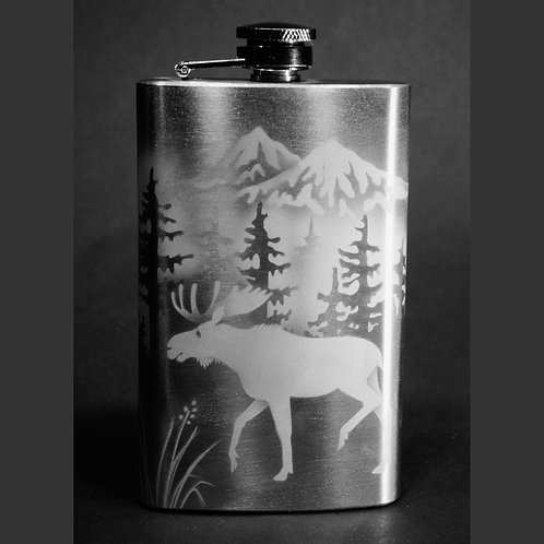 Moose Forest Mountain Etched on 12 oz Stainless Steel Flask  Code: A505 SS 12FE