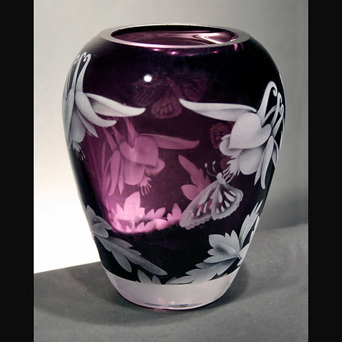 Butterfly Columbine Flowers Etched on Violet Hip Vase  Code: I060 VI GHPD