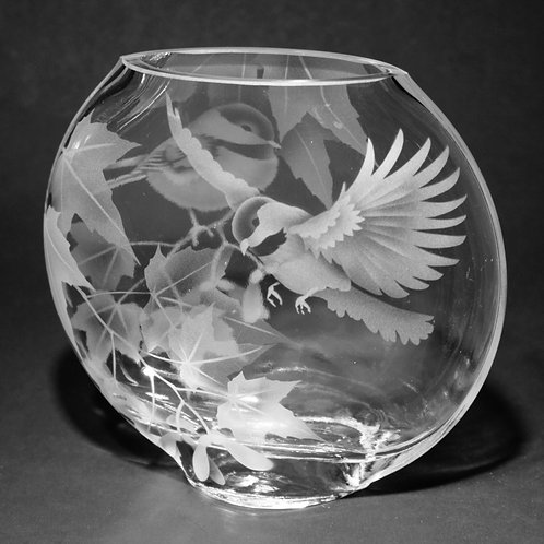 Chickadees Red Maple Branches Etched on Clear Sphere Vase  Code:  B130 CL GSVC