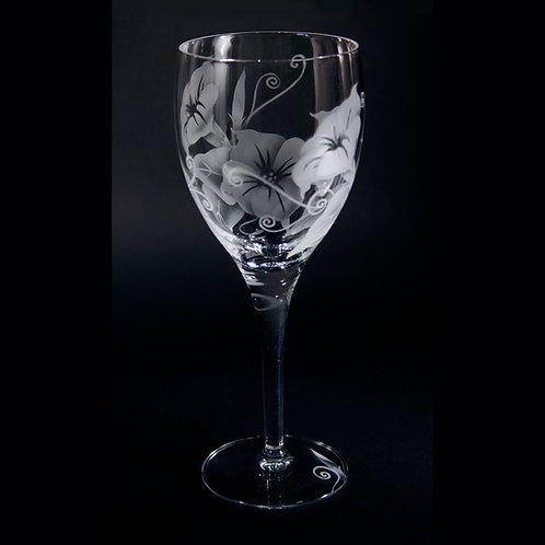 Morning Glory Flowers Etched on Crystal White Wine Goblet  Code:  F500 CL LWGE