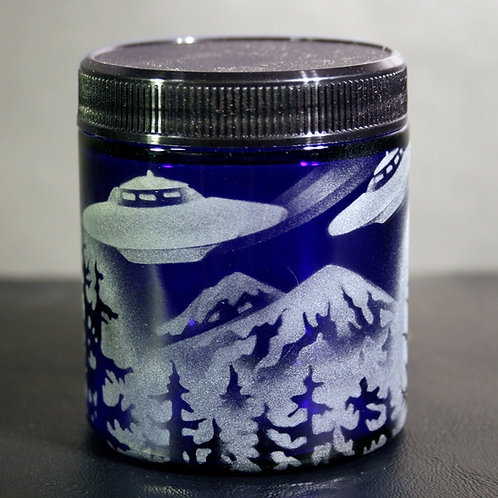 Flying Saucers Over Mountain Forest Scene Etched on Blue Jar  Code: M810 CB SJMB