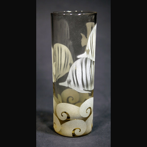 Tropical Fish Etched on Yellow Spirit Glass  Code: O218 YL IBVC