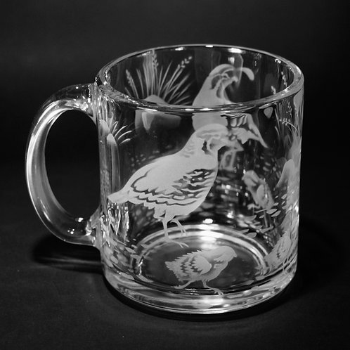 Quail with Chicks Etched on Clear Mug  Code: B510 CL LCMC