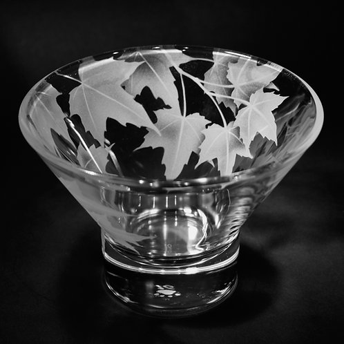 Red Maple Branch Etched on a Clear Small Bowl  Code; F487 CL DSBc