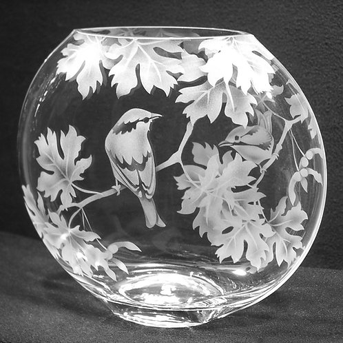 Finch Maple Branches Etched on Clear Sphere Vase  Code: B219 CL GSVD