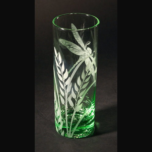 Dagonfly Grass Etched on Light Green Spirit Glass   Code: I175 LG IBVC