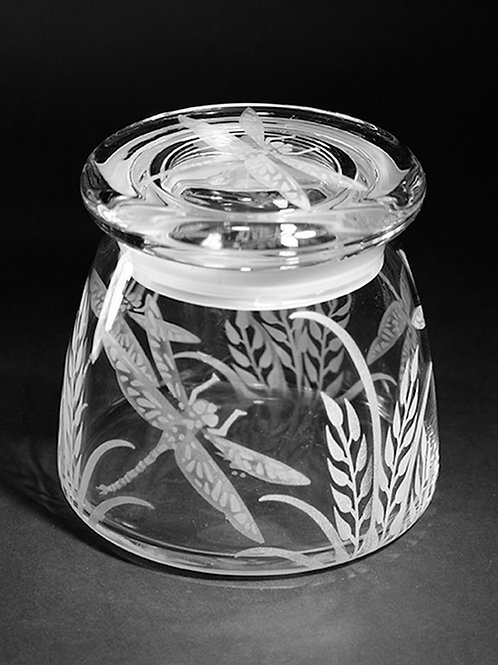 Dragonfly Grass Permanently Etched on a Small Clear Vibe Jar  Code; I175 CL VIBC