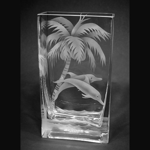 Dolphins Palm Tree Ocean Etched on Clear Rectangle Vase  Code: O122 CL GEVE
