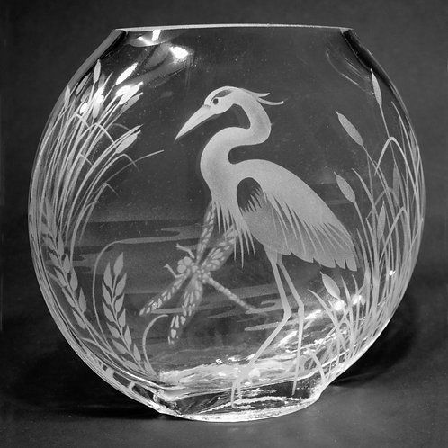 Dragonfly Heron Scene Etched on Clear Medium Sphere Vase  Code: B290 CL GSVC