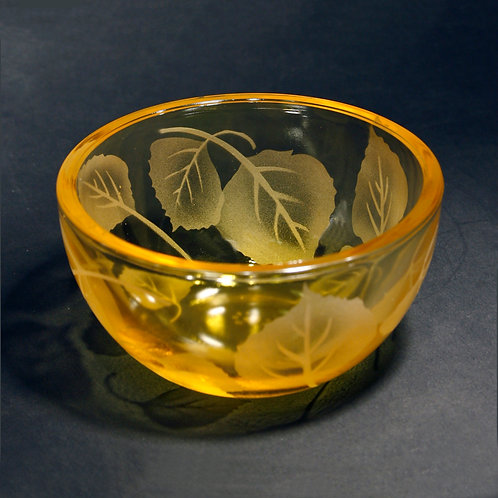 Aspen Leaves Etched on Petite Yellow Bowl  Code: F038 YL PSBB