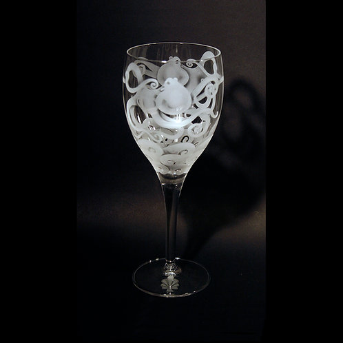 Octopus with Waves Etched on a White Wine Crystal Goblet
