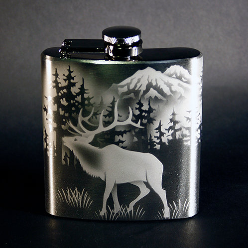 Elk Scene Etched on a 6oz Stainless Steel Flask  Code; A175 SS 06FC