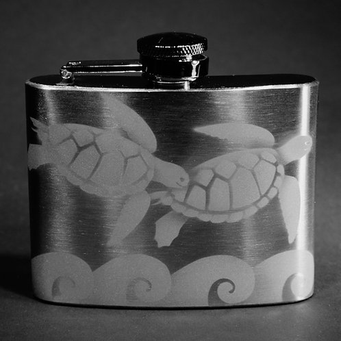 Sea Turtles with Waves Etched on 4oz Stainless Steel Flask  Code: O735 SS 04FC
