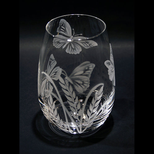 Butterflies and grass Etched on a Crystal Stemless Wine/Drinking Glass