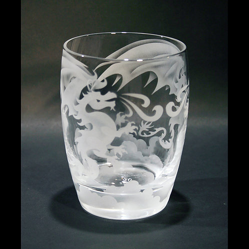 Two Dragons Etched on a Crystal Whiskey/Tumbler