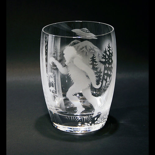 Sasquatch and Space Ship Etched on a Crystal Whiskey/Tumbler