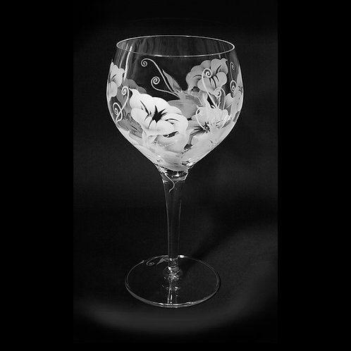 Morning Glories Permanently Etched on a Red Wine Crystal Goblet