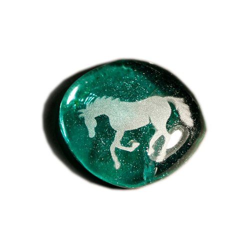 Horse Etched on a Iridescent Green JagGem Code: G300 IT RFGA