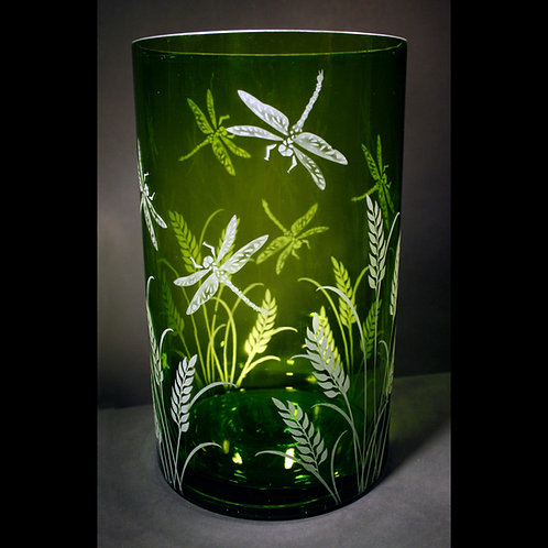 Drangonflies Grass Etched on Large Green Cylinder Vase  Code: I175 GR ACVG