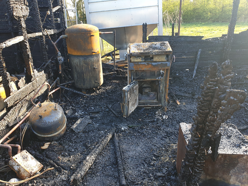 Fire damaged biomass boiler